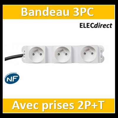 Casanova - Bandeau 3PC avec prises raccordées sur cordon secteur - H10101-3PCR