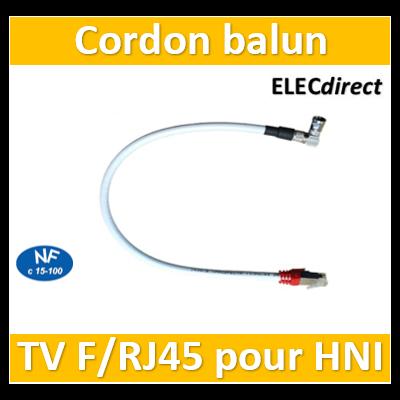 Casanova - Cordon balun TV F/RJ45 pour HNI - lg 0,4m - Cat. 6A - Grade 3TV - H59040F/RJ45