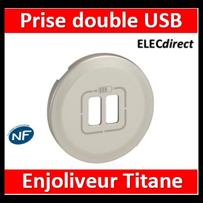 Legrand Céliane - Enjoliveur Céliane pour chargeur double USB Type-A - finition titane - 068556