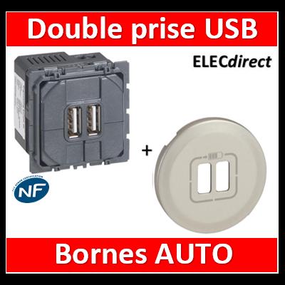 Legrand Céliane - Mécanisme + enjoliveur Double Prise chageur USB Titane - 067462+068556