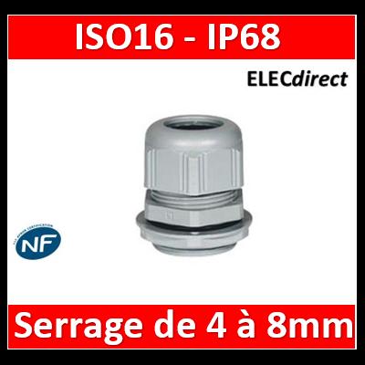 Legrand - Presse-étoupe plastique - IP68 - ISO 16 - RAL 7001 - 098001