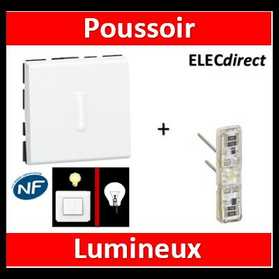 Legrand Mosaic - Poussoir lumineux - 2 modules - 10A - 230V  à voyant LED - 077042+067686