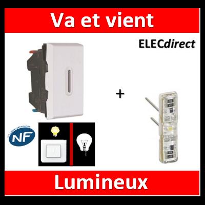 Legrand Mosaic - Va-et-Vient lumineux - 1 module - 10A - 230V  à voyant LED - 077002+067686
