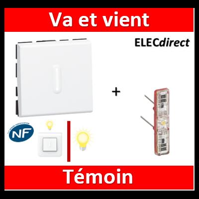 Legrand Mosaic - Va-et-Vient témoin - 2 modules - 10A - 230V  à voyant LED - 077012+067688