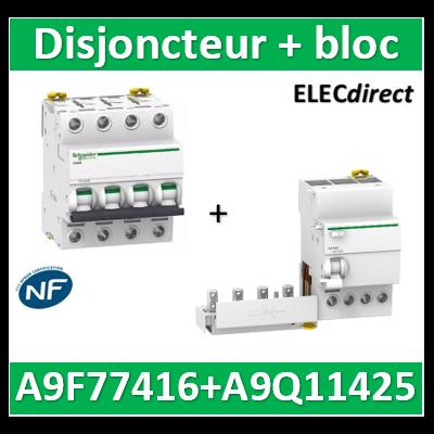 Schneider - Disjoncteur Acti9 - iC60N - 4P - 16A - 6kA - courbe C + Bloc 25A 30mA AC - A9F77416+A9Q11425