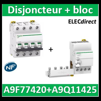 Schneider - Disjoncteur Acti9 - iC60N - 4P - 20A - 6kA - courbe C + Bloc 25A type AC 30mA - A9F77420+A9Q11425