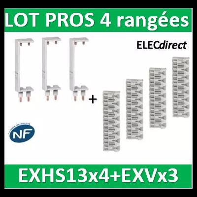 Schneider - LOT PROS - Peignes Vert. + Hor. XE 13M pour tableaux 4 rangées - R9EXHS13x4+R9EXVx3