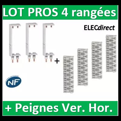 Schneider - Peignes Vert. + Hor. XE 13M et 1 en 10M tableaux 4 rangées - R9EXHS13x3+REXHS10+R9EXVx3