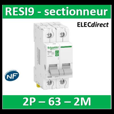 Schneider - Interrupteur-sectionneur bipolaire 63A - RESI XP - R9PS263