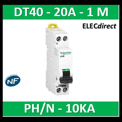SCHNEIDER - Disjoncteur Ph/N 20A DT40 - 10KA - SCHA9N21367