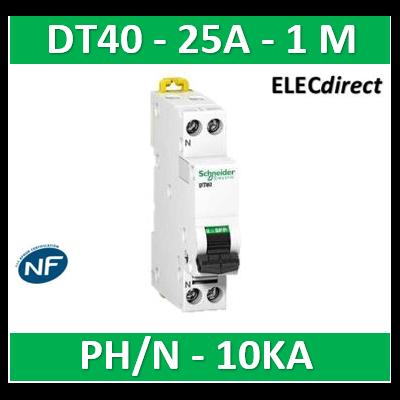 SCHNEIDER - Disjoncteur Ph/N 25A DT40 - 10KA - SCHA9N21368