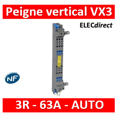 Legrand - Peignes verticaux VX³ auto - 63 A - pour coffrets 3 rangées - 405023