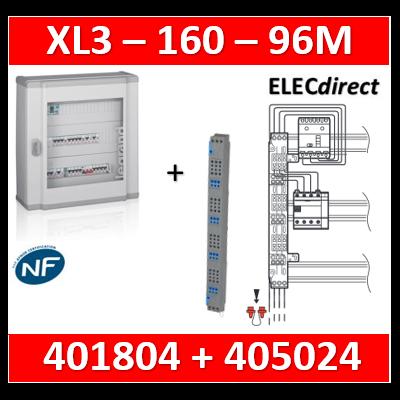Legrand - Coffret 96 modules - 4 rangées de 24M + peigne vertical tétra 4P - XL3 160 - 401804+405024
