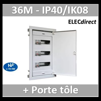 Digital electric - Coffret encastré vide - IP40 porte métal extra plate - 3 rangées - 36 mod - 07436