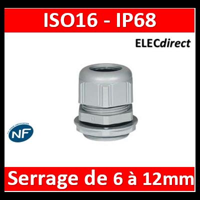 Legrand - Presse-étoupe plastique - IP68 - ISO 20 - RAL 7001 - 098003