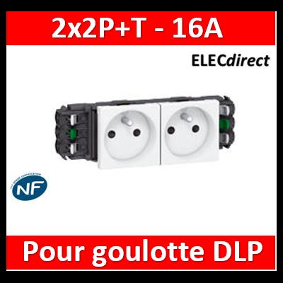 Legrand - Double prise de courant 2P+T Mosaic 4 modules pour goulottes DLP monobloc - blanc - 077302