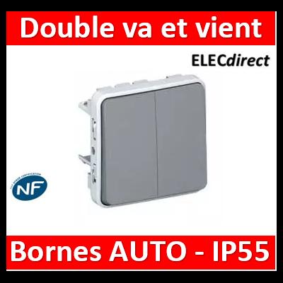 Legrand Double interrupteur ou va-et-vient Plexo composable IP55 10AX 250V - gris 069525