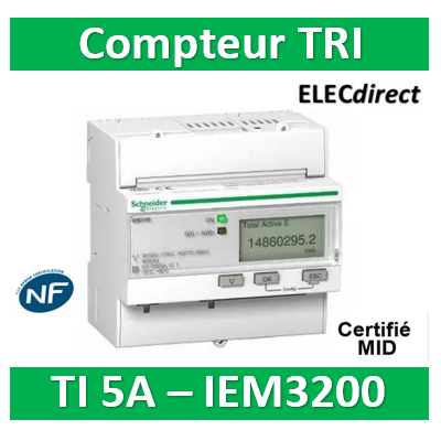 Schneider - Acti9, iEM Compteur d'énergie iEM3210 TI, Sortie impulsions, MID - A9MEM3210