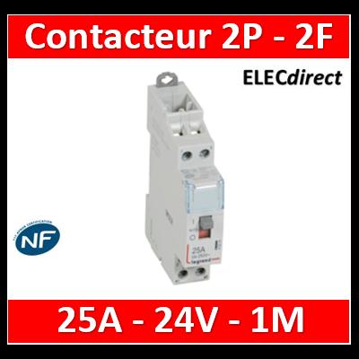 Legrand Contacteur de puissance CX³ bobine 24V~ - 2P 250V~ - 25A - contact 2F - 412514