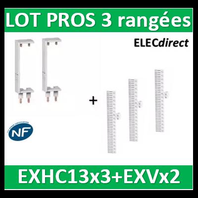 Schneider - LOT PROS - Peignes Vert. + Hor. XE 13M pour tableaux 3 rangées - R9EXHC13x3+R9EXVx2