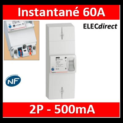 Legrand - Disjoncteur de branchement EDF - bipolaire - 60A instantané - 500MA - 401051