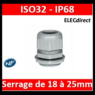 Legrand - Presse-étoupe plastique - IP68 - ISO 32 - RAL 7001 - 098006