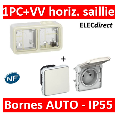 Legrand Plexo - PC + VV - 230V - horizontal - IP55/IK07 - Blanc - 069690+069611+069651