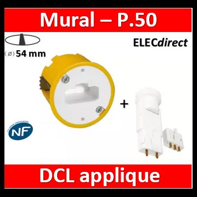 Legrand Batibox - Boîte luminaires pour applique - Prof. 50 + Douille/Fiche SIB - 089305+11127
