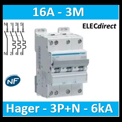 Hager - Disj.3P+N 6-10kA C-16A 3m - NFT816
