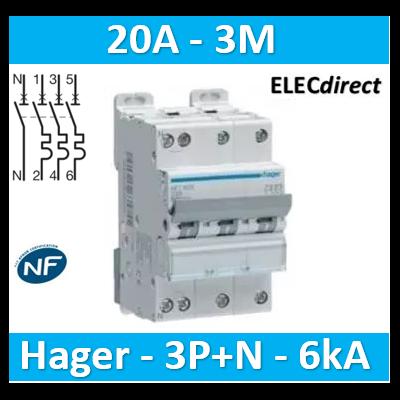 Hager - Disj.3P+N 6-10kA C-20A 3m - NFT820