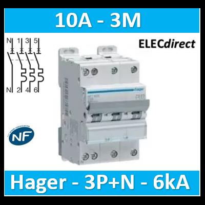 Hager - Disj.3P+N 6-10kA C-10A 3m - NFT810