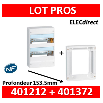 Legrand - LOT PROS - Coffret DRIVIA 26 Modules + rehausse - 401212+401372
