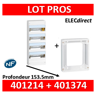 Legrand - LOT PROS - Coffret DRIVIA 52 Modules + rehausse - 401214+401374