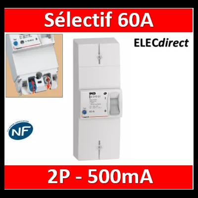 Legrand - Disjoncteur de branchement EDF 60A sélectif - non réglable - 500mA - bipolaire - 401006