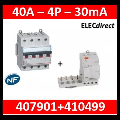 Legrand - Bloc diff adapt DX³-vis-4P-400V~-40A-typeAC-30mA-disj 1M + Disjoncteur 4P 32A - 410499+407901