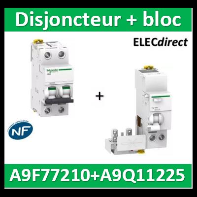 Schneider - Acti9 Vigi iC60, bloc différentiel 2P 25A 30mA type AC + Disjoncteur 2P 10A - A9Q11225+A9F77210