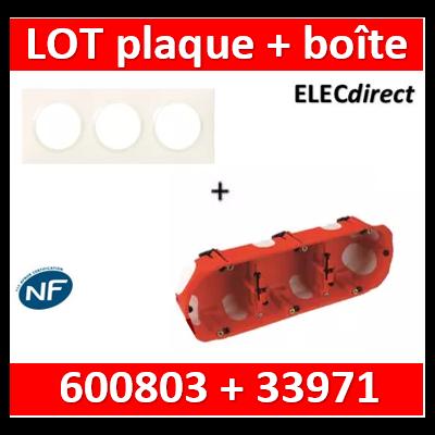 Legrand Dooxie - Plaque 3 postes + Boîte BBC SIB 3 postes - Hor/vert - 600803+33971