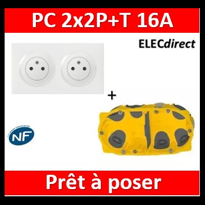 Legrand Dooxie - PC 2x2P+T 16A pré-câblé + plaque + boîte batibox BBC - 600332+600802+080022