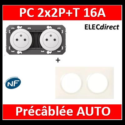 Legrand Dooxie - Prise de courant 2x2P+T 16A pré-câblé + plaque - Blanc - 600332-600802