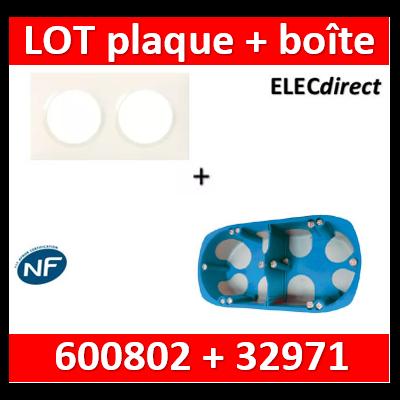 Legrand Dooxie - Plaque 2 postes + Boîte SIB 2 postes  BBC - Hor/vert - 600802+32971