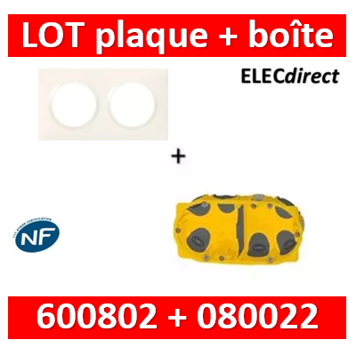Legrand Dooxie - Plaque 2 postes + Boîte Batibox BBC Legrand 2 postes - Hor/vert - 600802+080022