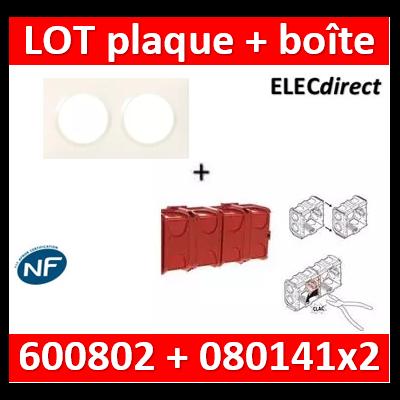 Legrand Dooxie - Plaque 2 postes + Boîte Batibox à sceller Legrand 2 postes - Hor/vert - 600802+080141x2