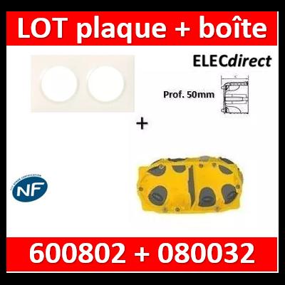 Legrand Dooxie - Plaque 2 postes + Boîte Batibox BBC Legrand 2 postes - Hor/vert - 600802+080032