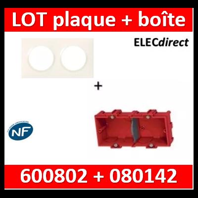 Legrand Dooxie - Plaque 2 postes + Boîte Batibox à sceller Legrand 2 postes - Hor/vert - 600802+080142