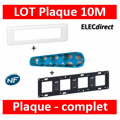 Legrand Mosaic - LOT - Plaque 10 modules - horizontal - 078810+080254+34971