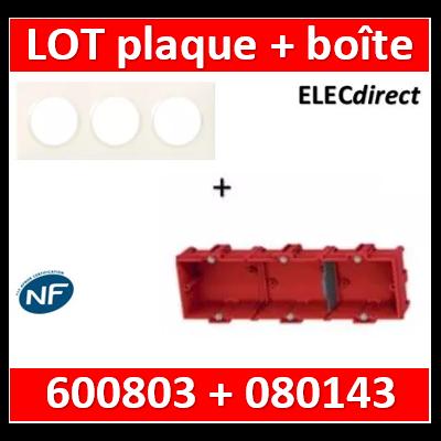 Legrand Dooxie - Plaque 3 postes + Boîte Batibox à sceller Legrand 3 postes - Hor/vert - 600803+080143