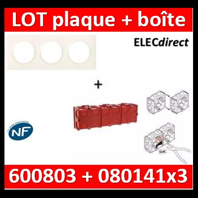 Legrand Dooxie - Plaque 3 postes + Boîte Batibox à sceller Legrand 3 postes - Hor/vert - 600803+080141x3