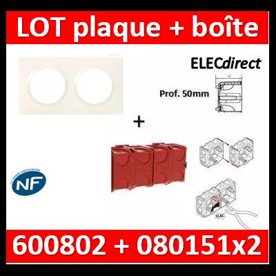 Legrand Dooxie - Plaque 2 postes + Boîte Batibox à sceller Legrand 2 postes - Hor/vert - 600802+080151x2