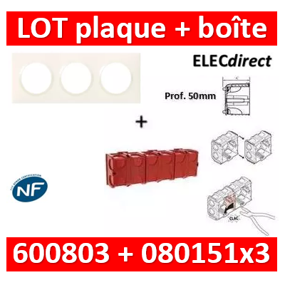 Legrand Dooxie - Plaque 3 postes + Boîte Batibox à sceller Legrand 3 postes - Hor/vert - 600803+080151x3