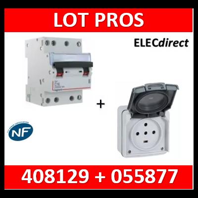 Legrand Plexo - Prise de courant 3P+N+T 32A - saillie - IP44/IK08 + Disjoncteur 32A 3P+N courbe D - 055877+408129
